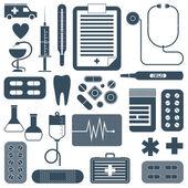 Vector set di icone piatta medicale — Vettoriale Stock