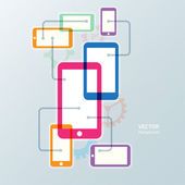 Vector colorful cellphone smartphone and gear icon background — ストックベクタ