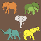 Set of elephants color — Stock Vector