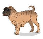 Shar Pei dog deer — Vector de stock