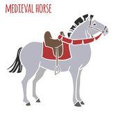 Mediavel war horse — Stock Vector