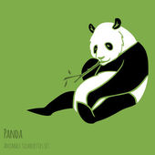 Set of Vector Panda silhouettes — Stock Vector