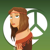 Beautiful girl of hippie — Stock Vector
