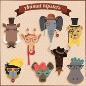 Cute fashion Hipster African Animals — 图库矢量图片