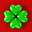 Green heart 4 leaves clover — Stock Photo