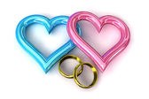 Rings heart gold — Stock Photo