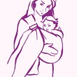Stock Vector: Mother with baby in a sling