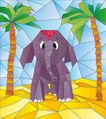 Elephant kids in vector — Vector de stock