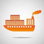 General cargo ship The container transport — Stock Vector