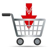 Shopping carts with red arrow — Stock Vector