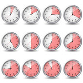 Clocks showing different time — Stock Vector