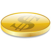 Dollars money coin in perspective vector — Vettoriale Stock