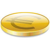 Euro money coin in perspective vector — Stock Vector