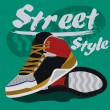 Sneakers graphic design for t-shirt. — Cтоковый вектор #50116087