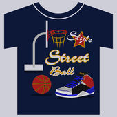 Streetball, sneakers graphic design. vector illustrations — Stock Vector