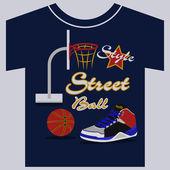 Streetball, diseño grafico zapatillas. ilustraciones vectoriales — Vector de stock