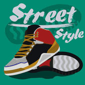 Sneakers graphic design for t-shirt. — Stock Vector