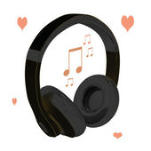 Love music headphones — Stock Photo