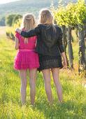 Twins and best friends enjoying the summer sun — Stock Photo