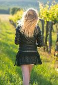 Beauty Romantic Girl walking Outdoors. Beautiful Teenage Model girl — Stock Photo