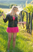 Girl shakes her hair in a romantik summer park. Outdoor. — Stock Photo