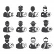 Vector de stock : Occupation icons set, vector illustration