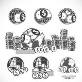 World and money icons set, vector illustration — 图库矢量图片