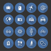 Modern travel flat icons collection with long shadow, vector illustration — Stock Vector