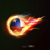 Chile flag with flying soccer ball on fire isolated black backgr — Stock Vector