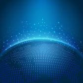 Global technology mesh digital network with dot digital world ma — Stock Vector