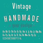Vintage handmade style alphabet, vector illustration — Vecteur