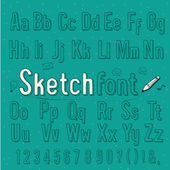 Vintage sketch style alphabet, vector illustration — Stock Vector