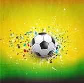 Cruscotto di palla di calcio su sfondo di verde grunge texture, vector & illustrazione — Vettoriale Stock