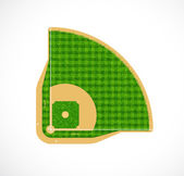 Baseball field with real grass textured, Vector illustration — Stock Vector