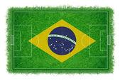 Brasilien flagge auf fußballfeld mit realistischer gras textur, vektor & abbildung — Stockvektor