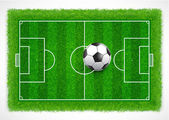 Top view of an empty soccer field with realistic grass texture, Vector & illustration — Stock Vector