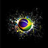 Brazil flag with soccer ball dash on colorful & grunge texture on black background, vector & illustration — Stock vektor
