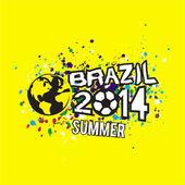 Brazil 2014 summer header design on grunge texture yellow background, vector & illustration — Vettoriale Stock