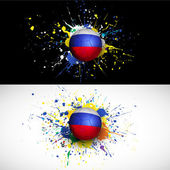 Russia flag with soccer ball dash on colorful background, vector & illustration — Stock Vector