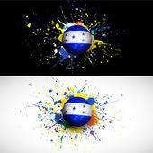 Drapeau du Honduras avec dash de ballon de football sur fond coloré, vecteur & illustration — Vecteur