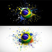 Brazil flag with soccer ball dash on colorful background,  vector & illustration — Stock Vector