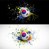 South Korea flag with soccer ball dash on colorful background, vector & illustration — Stock Vector