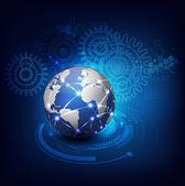 World communication and technology futuristic background, vector & illustrator — Stock Vector