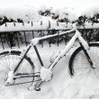 Stock Photo: Bike under snow