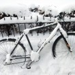 Bike under snow — Stock Photo