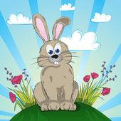 Rabbit on the flower meadow — Stock Vector
