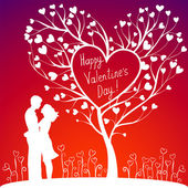 Couple With Valentine's Tree — Stock Vector
