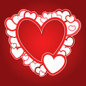 Red frame of hearts — Vector de stock