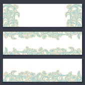 Set of three floral banners with place for the text — Stock Vector