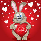 Rabbit With Heart — Vector de stock